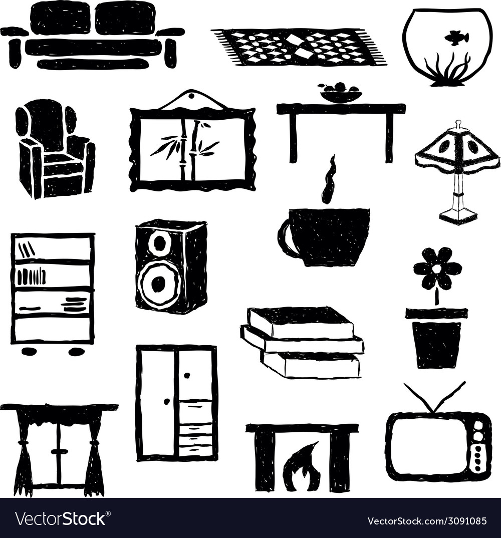Living room doodle images vector image