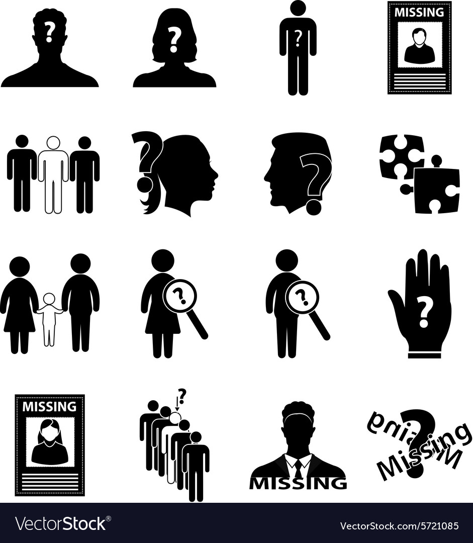 Missing person icons set vector image