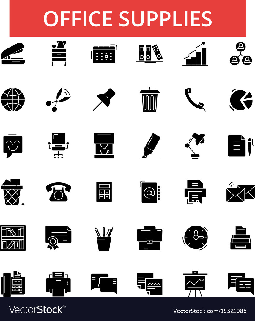 Office supplies thin line icons