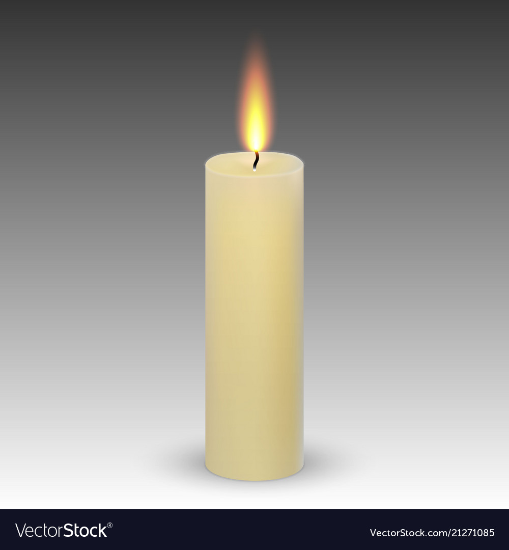 Realistic paraffin burning candle