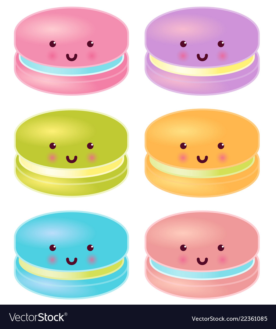 Set of colorful cute macaron characters