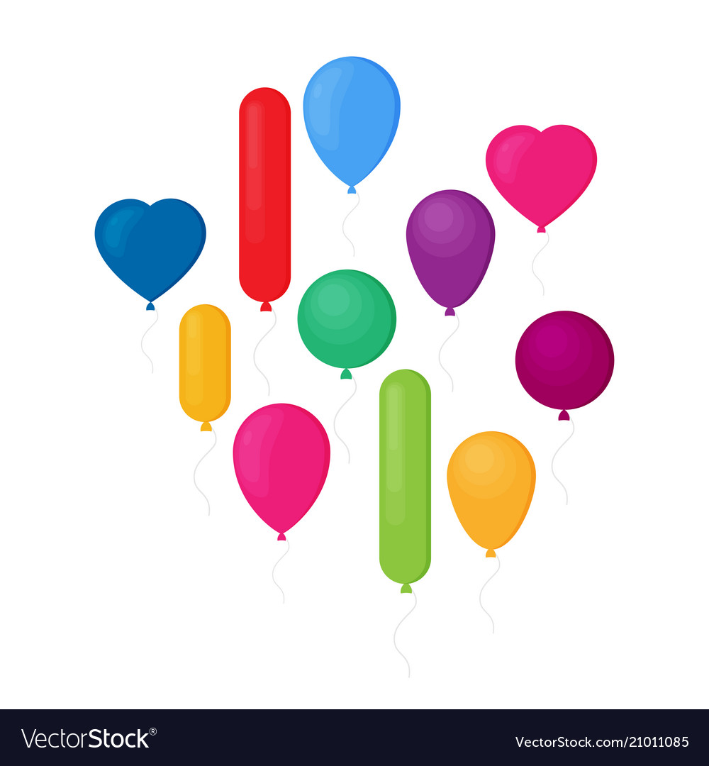 Set of flat celebration balloons