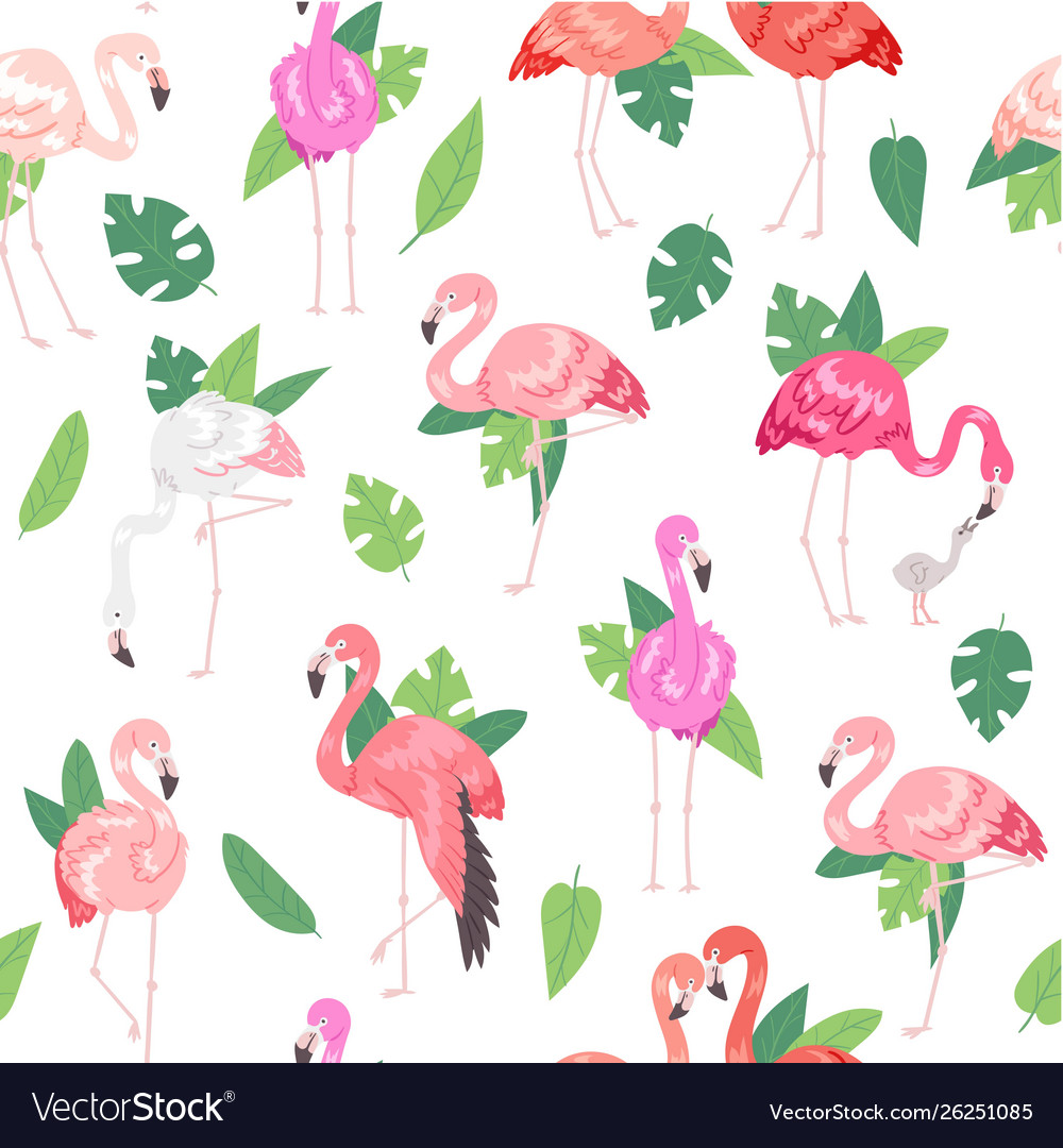 Tropical flamingo seamless pattern summer time