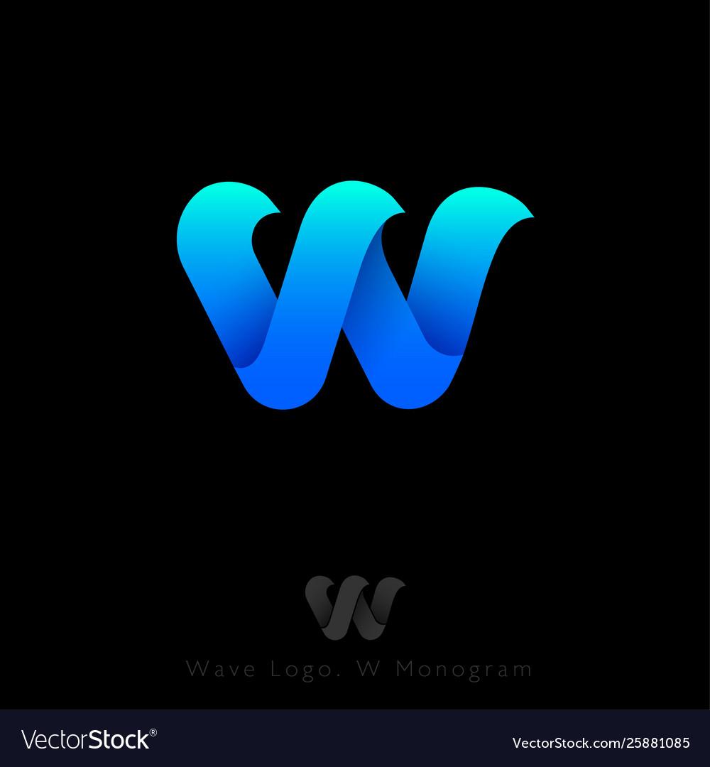 W logo three blue waves monogram