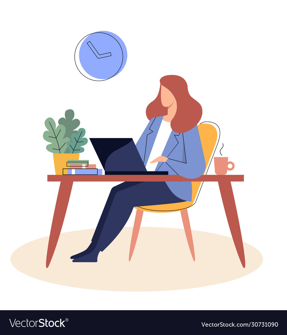 Businesswoman is sitting at a table with a laptopr