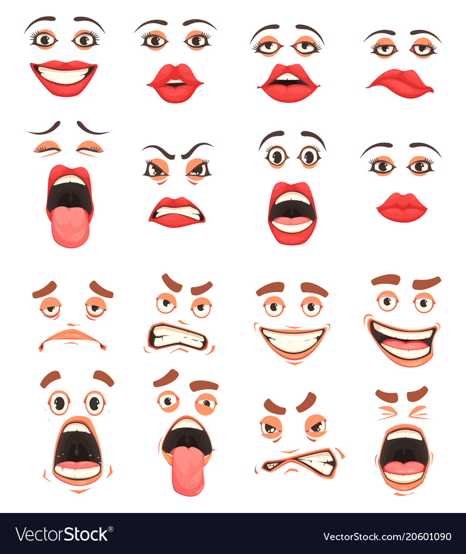 Cartoon Cute Mouth Set Royalty Free Vector Image