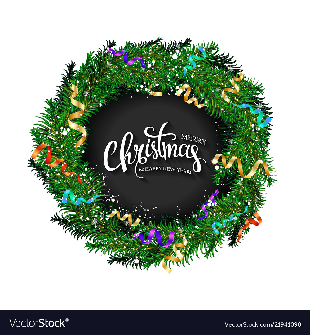 Christmas card with a wreath of fir branches