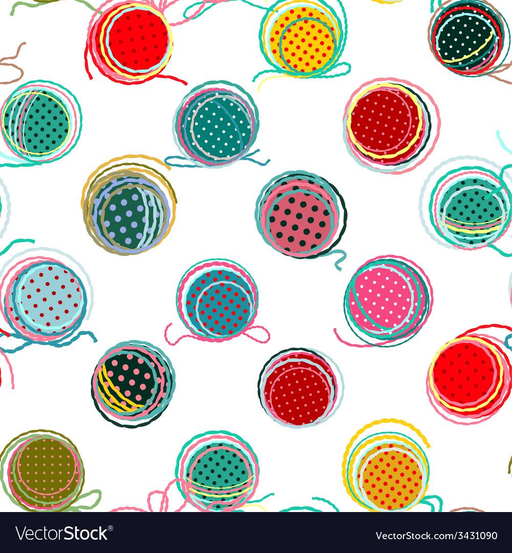 Colorful Seamless Yarn Balls Pattern vector image