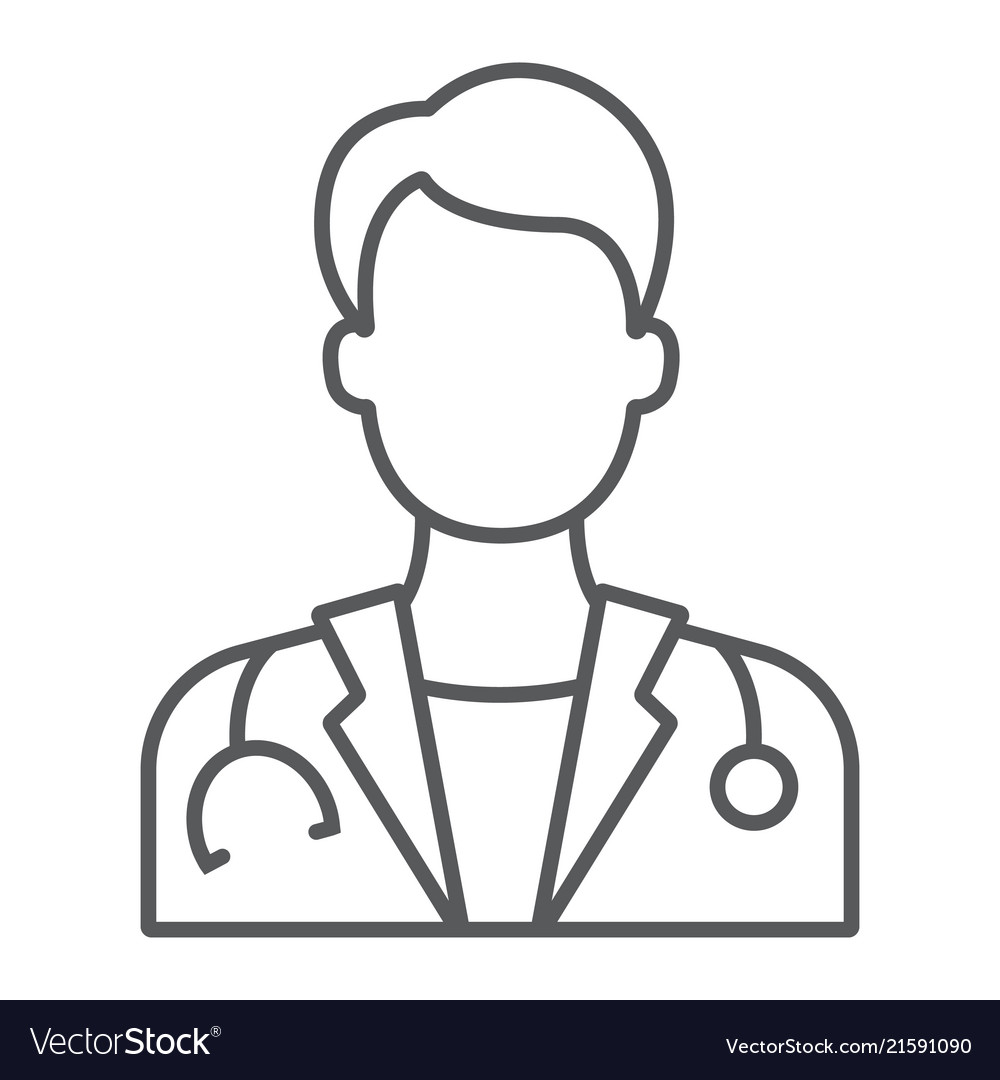 Doctor thin line icon medicine and hospital