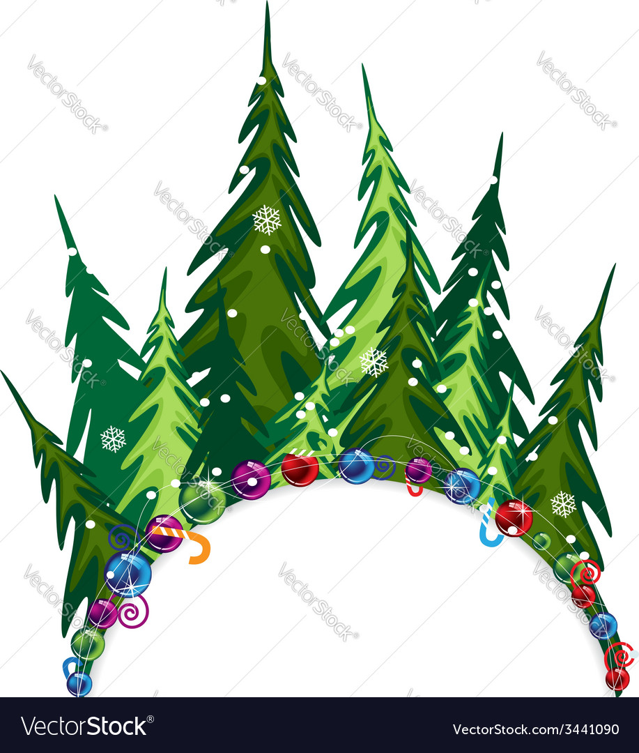 Fir forest with Christmas decorations