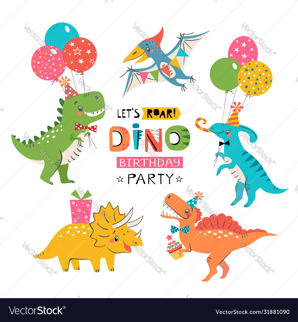 Funny cute colorful birthday party dinosaurs