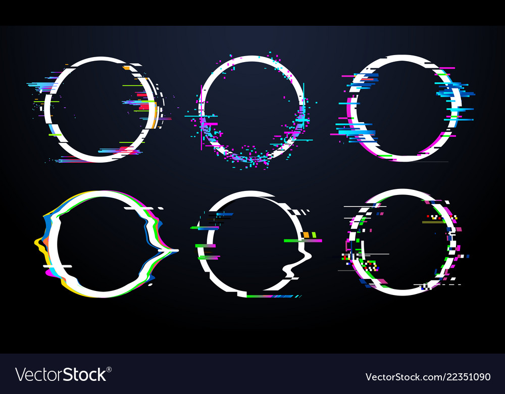 Glitch circle frame tv distorted signal chaos