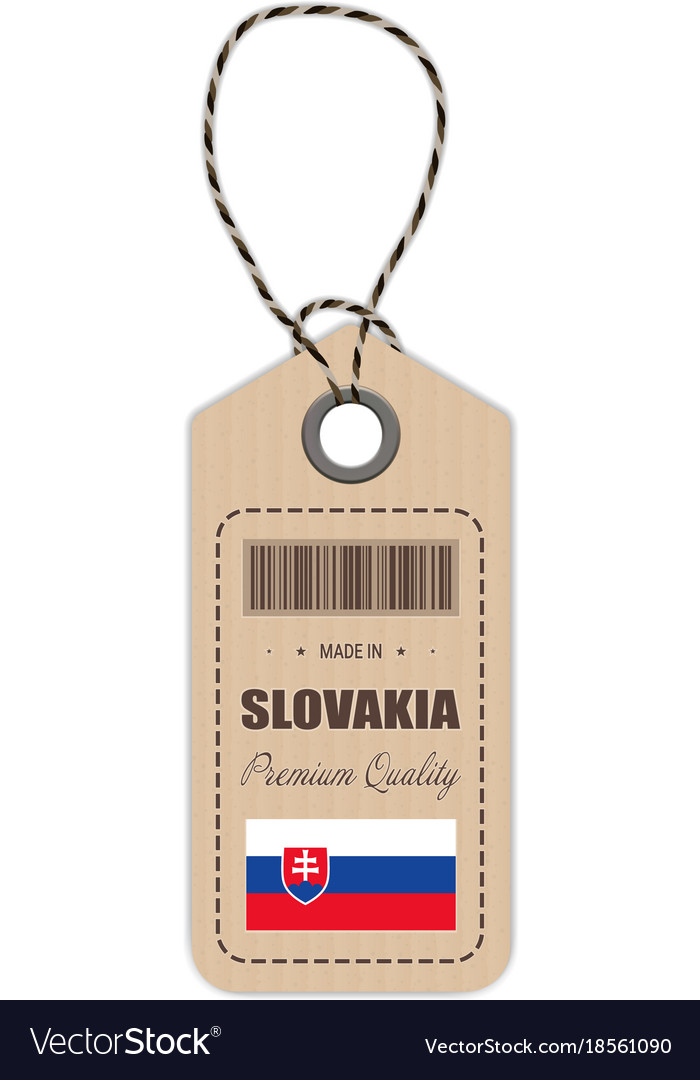 Hang tag made in slovakia with flag icon isolated