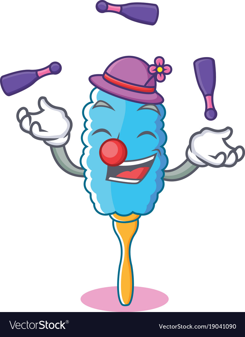 Juggling feather duster character cartoon vector image