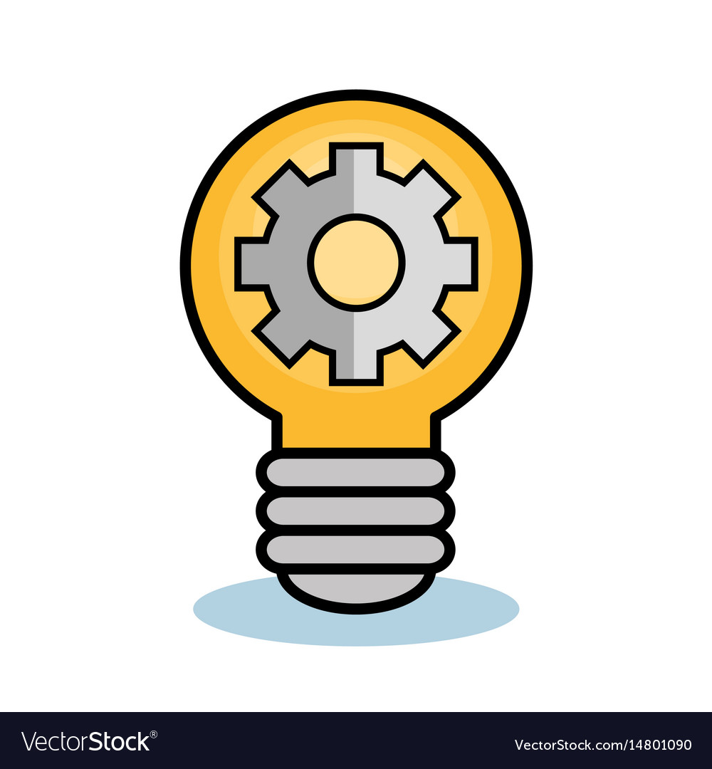 Light bulb and gear wheel design vector image