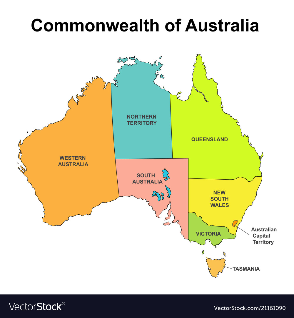 Map Of Australia With Capitals.Map Of Australia With Internal Regional Boundaries