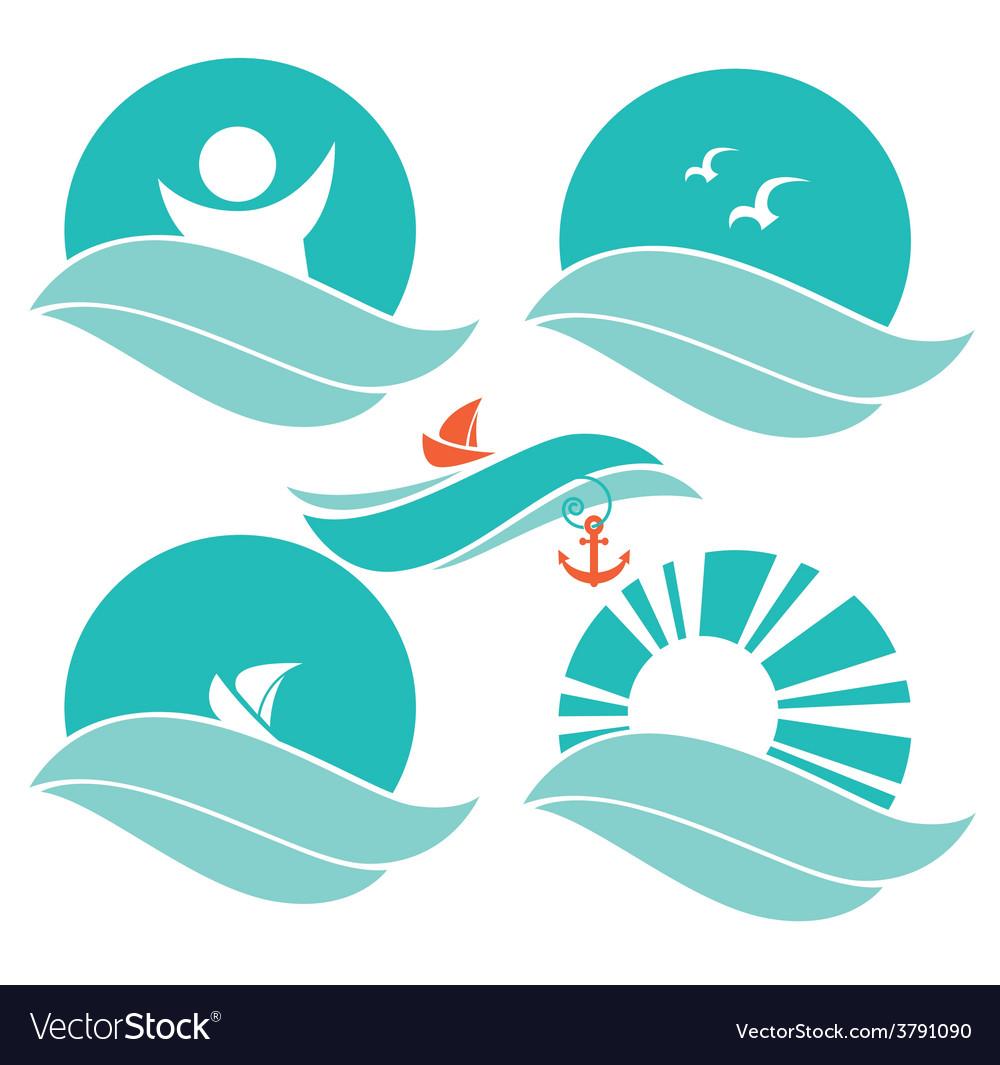 Sea Symbols Royalty Free Vector Image Vectorstock