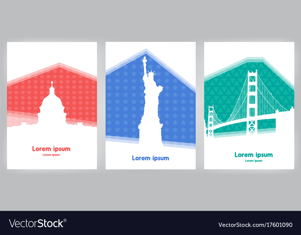 Set of cards with landmarks usa on colorful