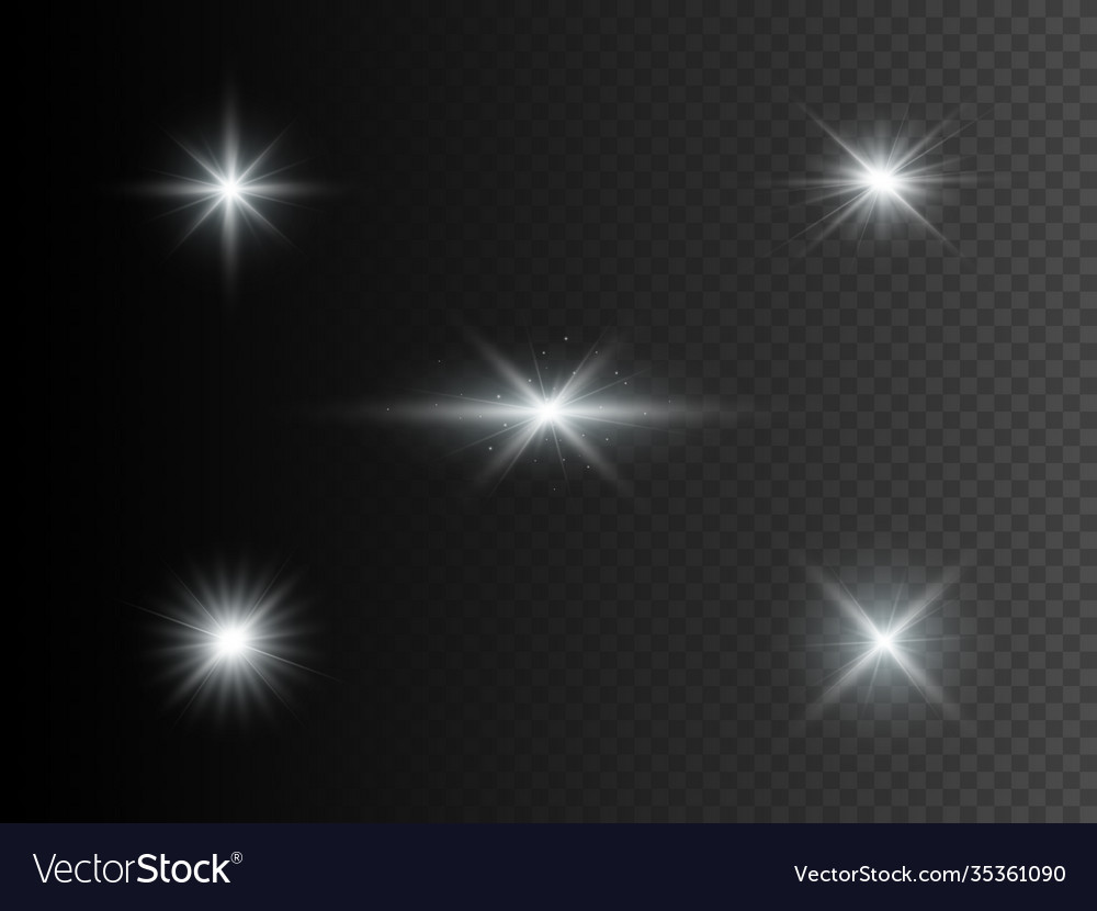Set silver glowing lights transparent effect