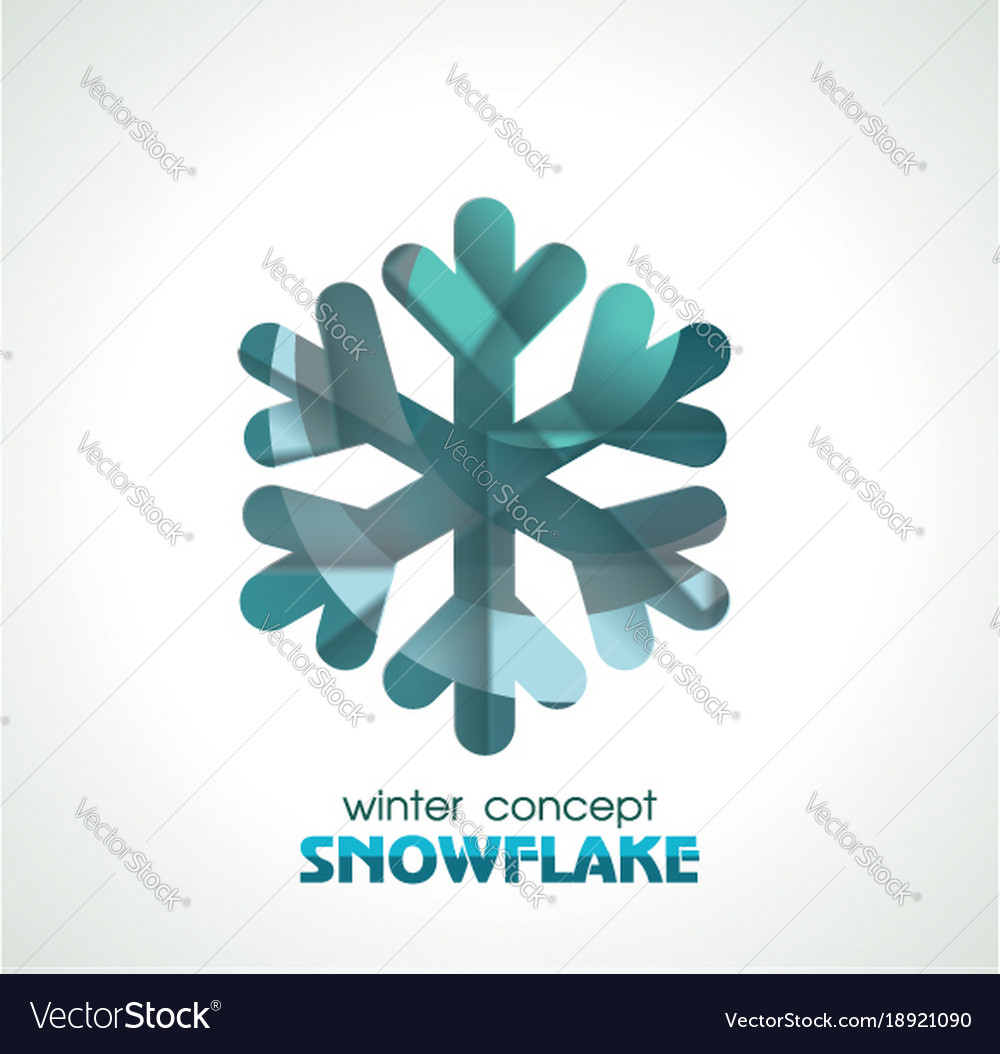 Snowflake sign symbol of winter christmas and new