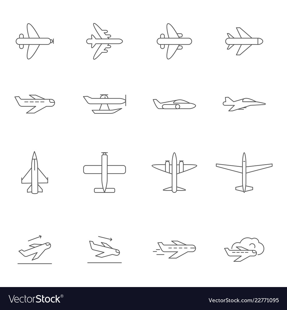 Airplane outline icons airline passenger aircraft