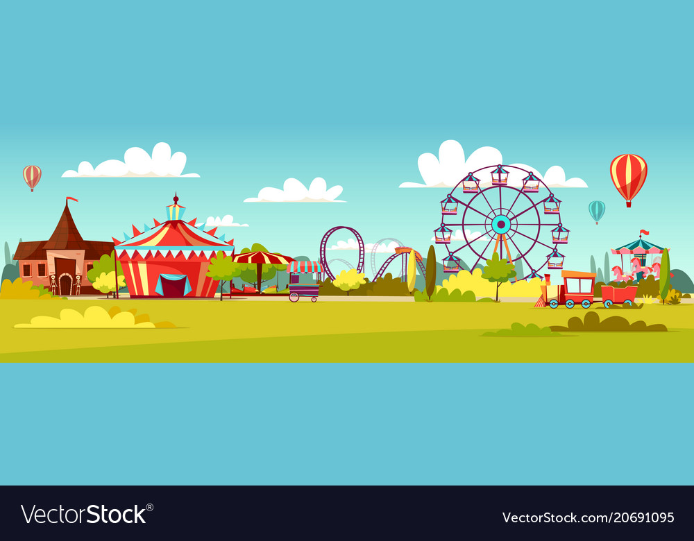 Amusement park cartoon of vector image