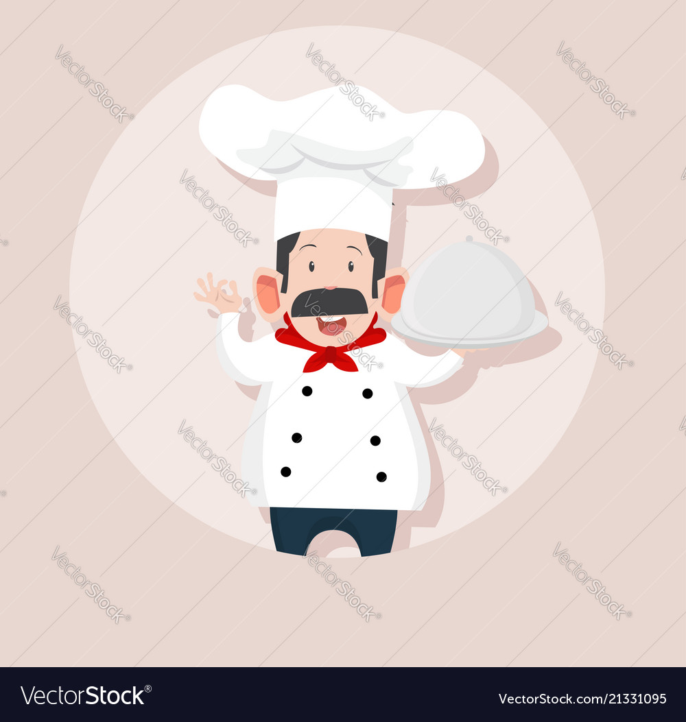 Chef making ok sign with tray