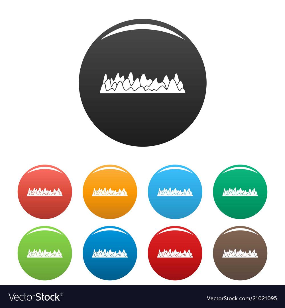 Equalizer sound vibration icons set color