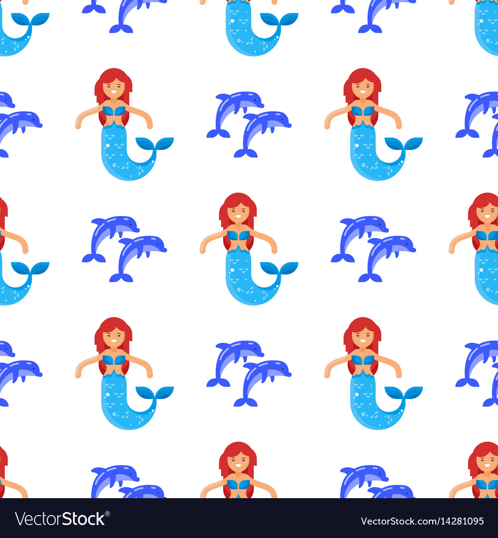 Flat style seamless pattern with mermaid