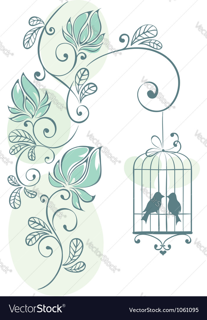 Floral background - love birds vector image