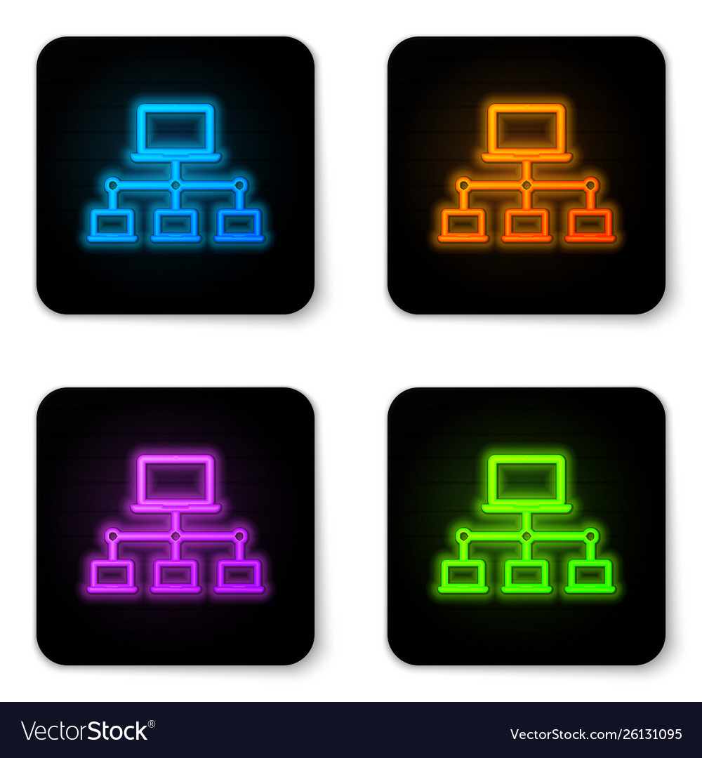 Glowing neon computer network icon isolated on