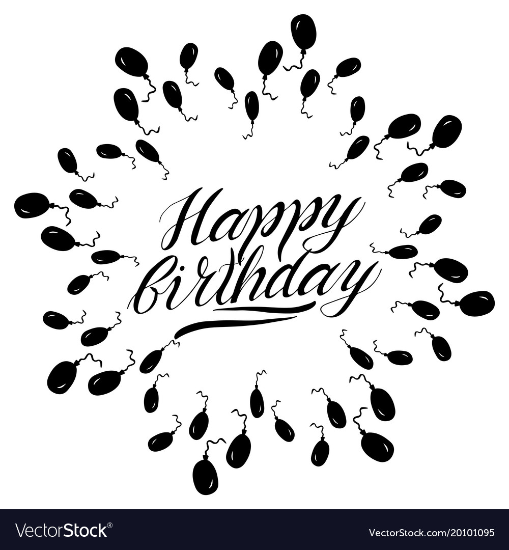 Greeting Happy Birthday Card Lettering Royalty Free Vector
