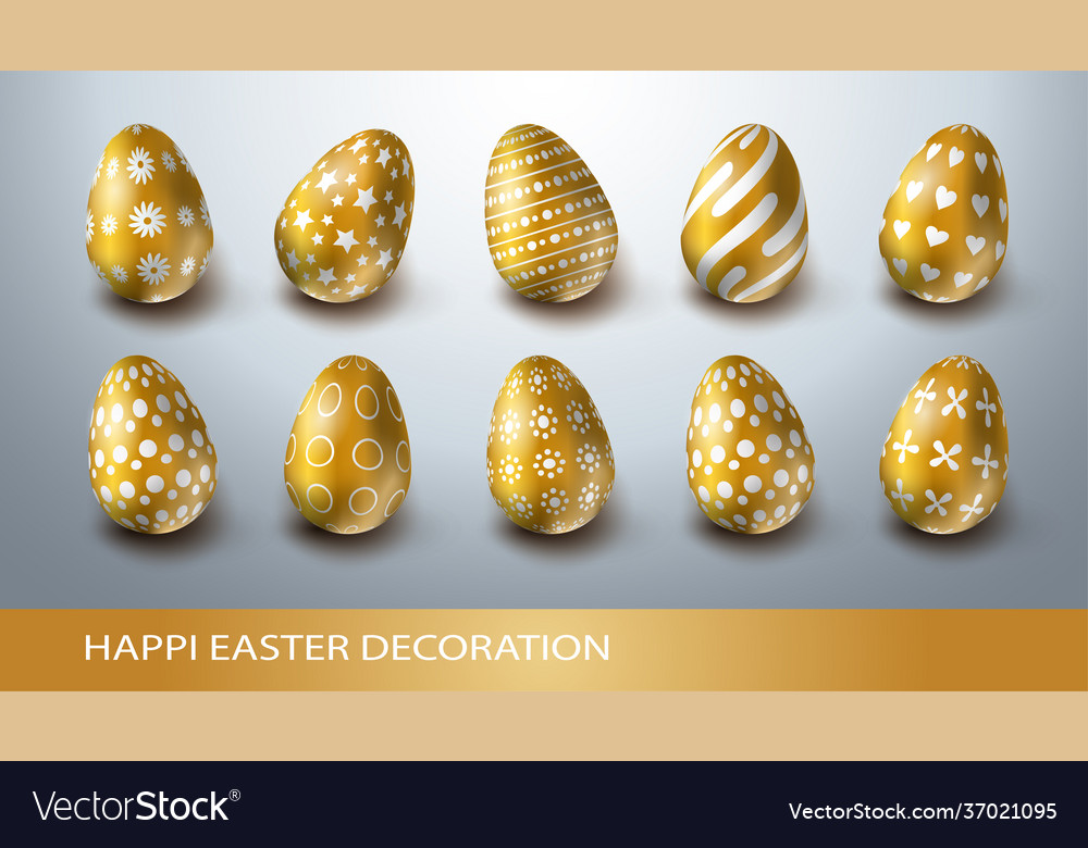 Happy easter decoration set with realistic golden