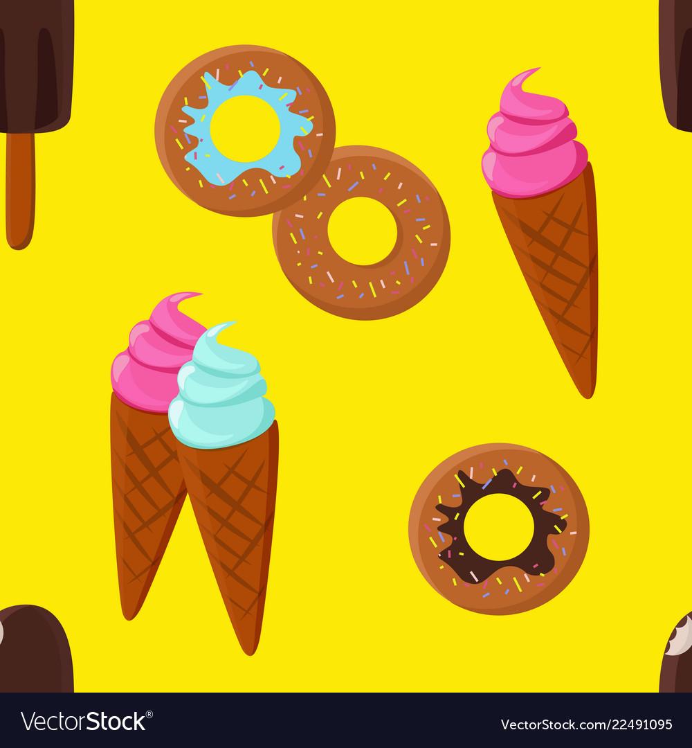 Ice-cream and doughnut seamless pattern