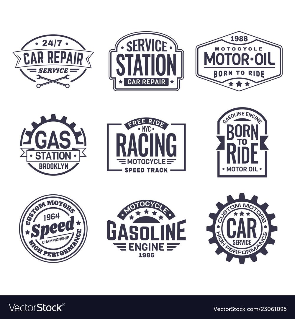 Labels for gas stationcar repair serviceracing