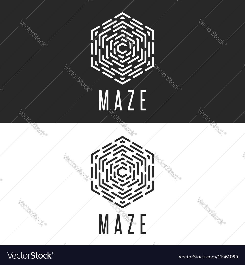 Maze logo cube thin line labyrinth