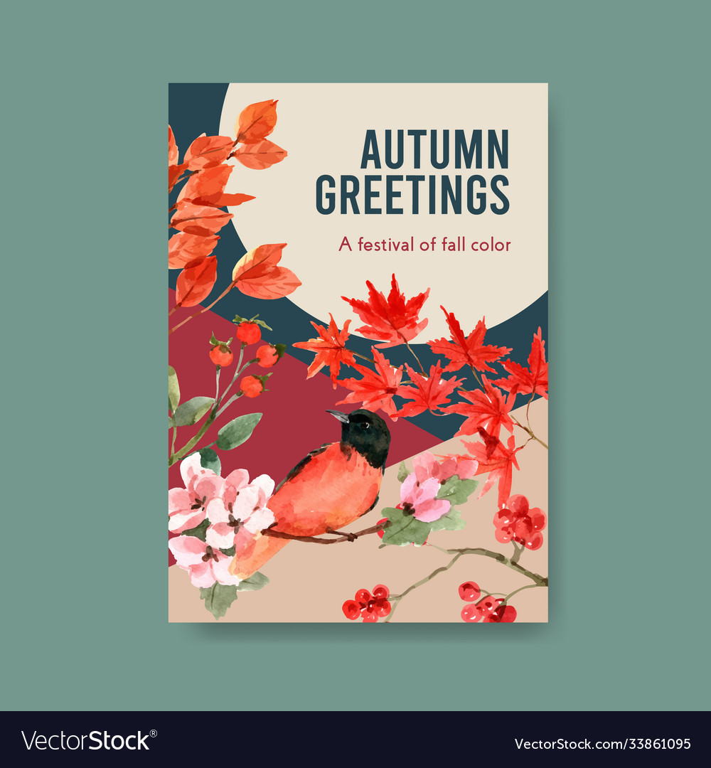 Poster template with autumn forest and animals