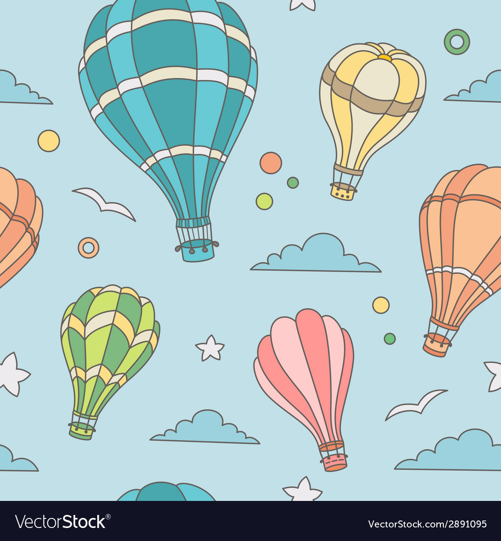 Seamless pattern of hot air balloons on the sky