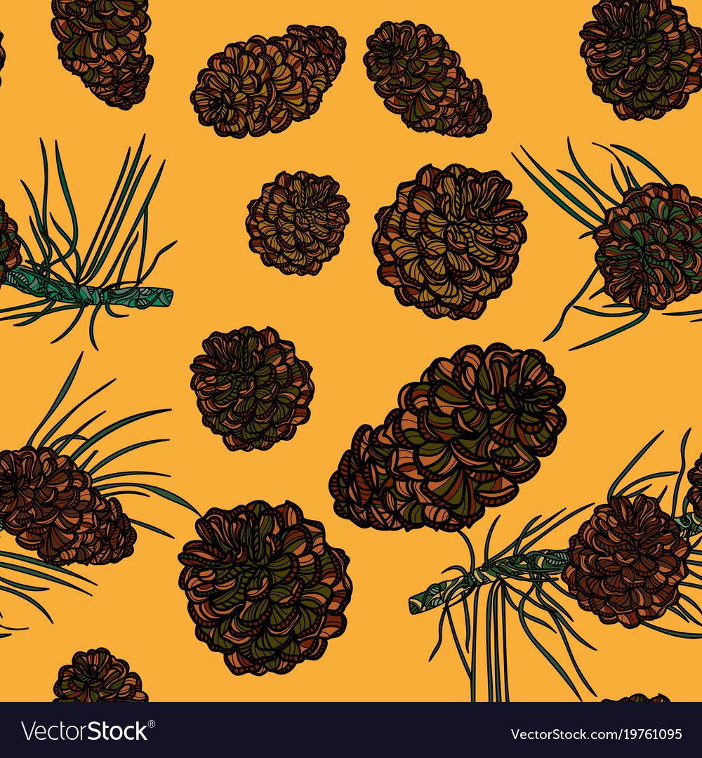 Seamless pattern with with pinecones