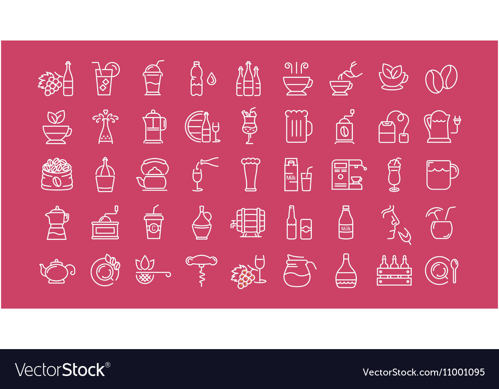 Set Flat Line Icons Drinks and Alcohol