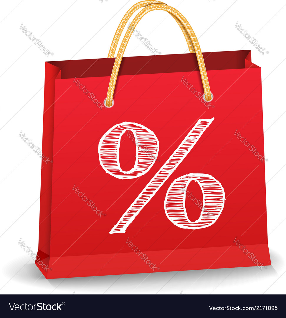 Shopping Bag with Percent Sign vector image