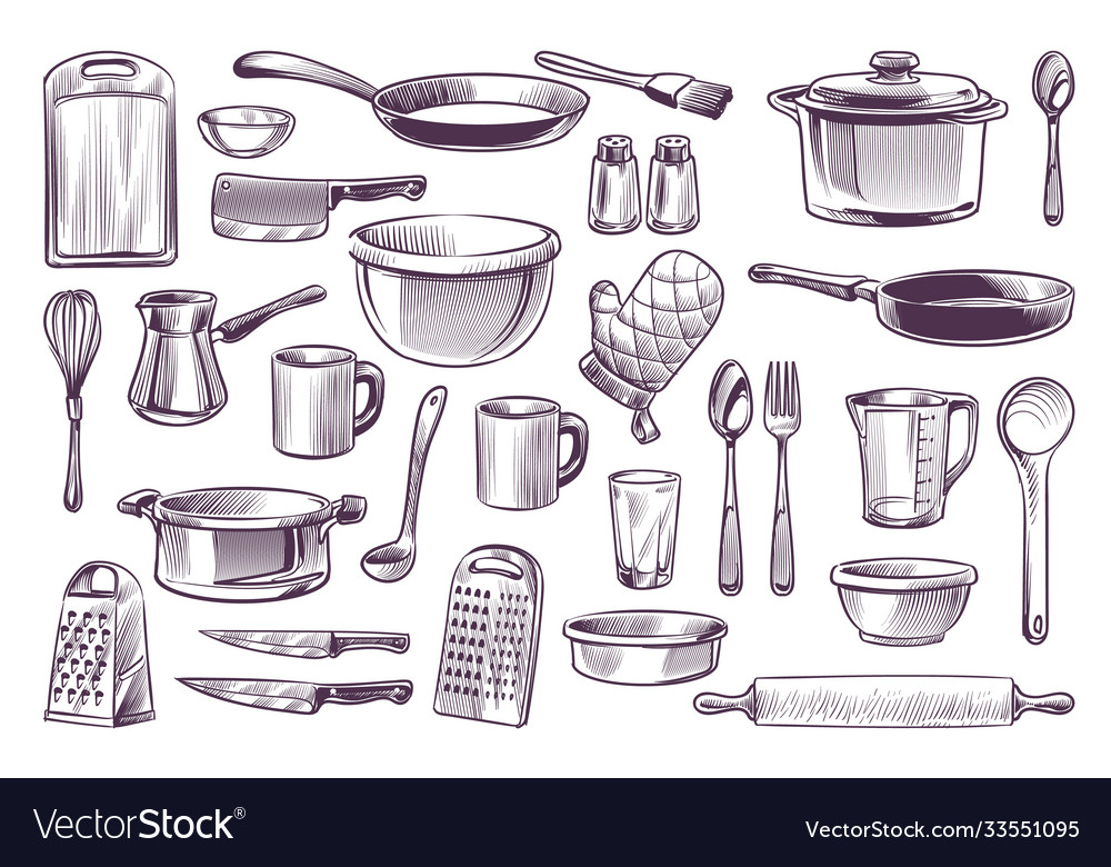 Sketch cooking equipment hand drawn doodle