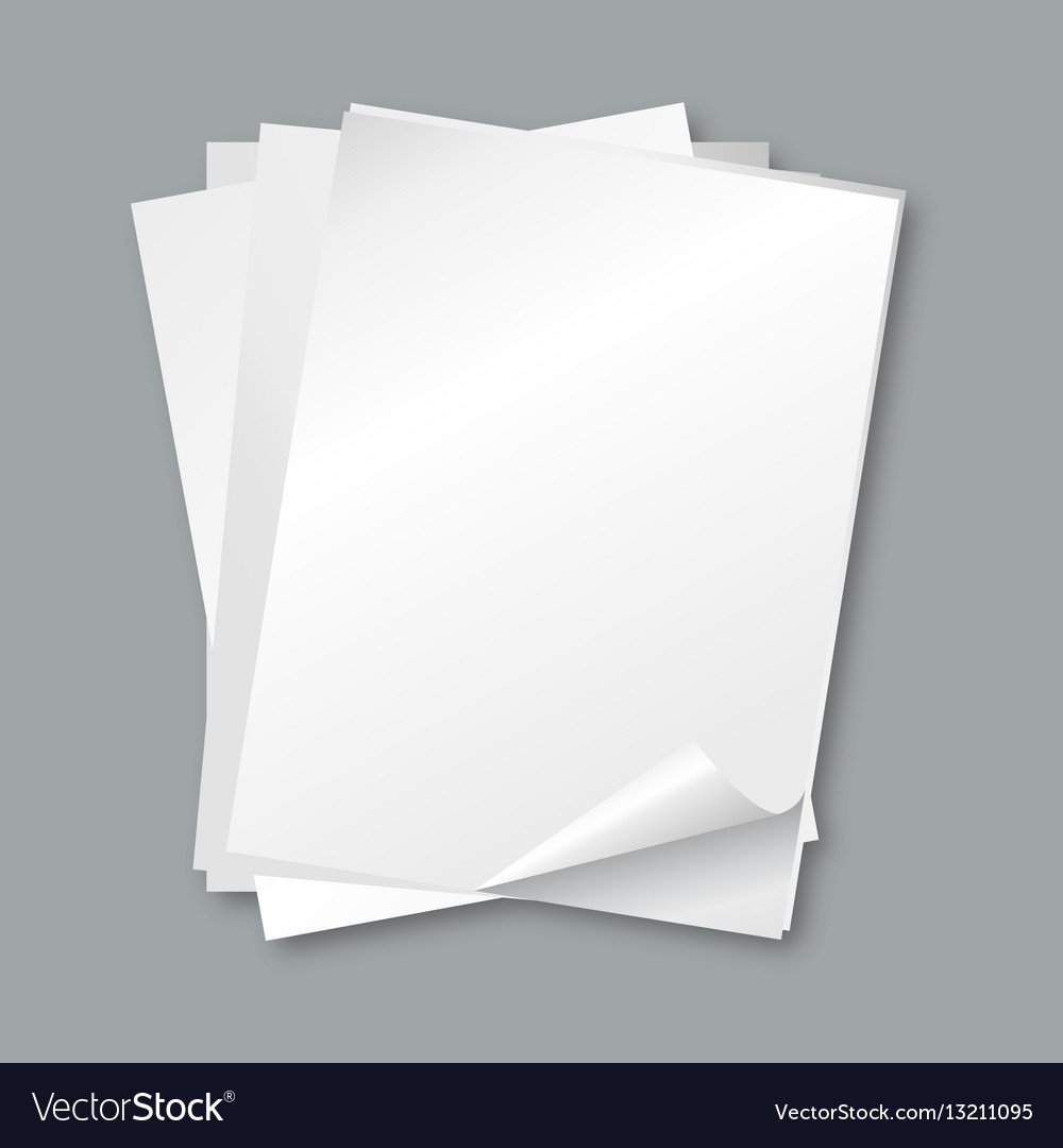 stack of papers isolated blank white paper sheets vector image