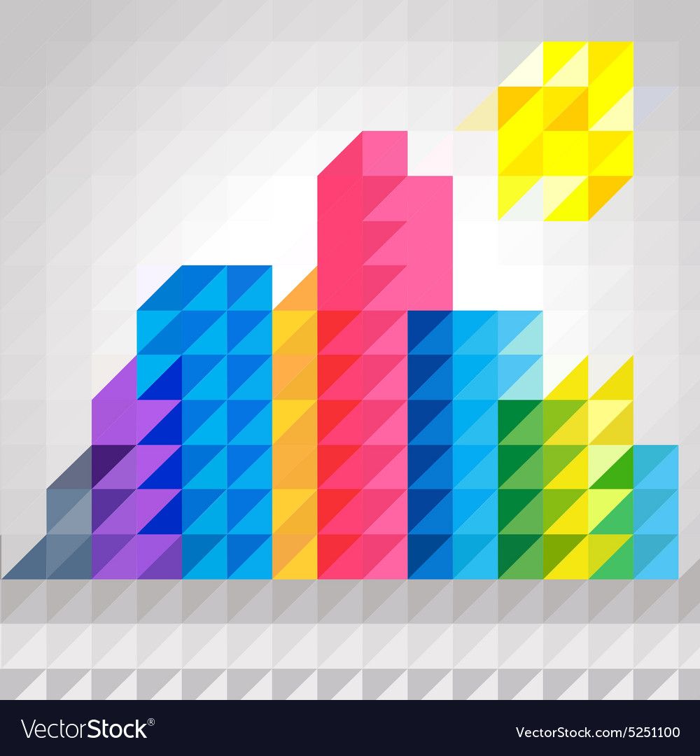 Abstract colorful building in triangles pattern vector image