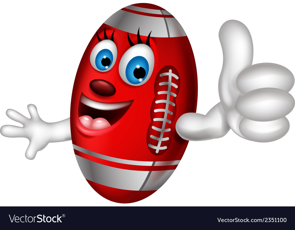 Cartoon American football thumb up vector image
