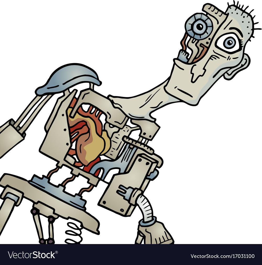 Creative robot human vector image