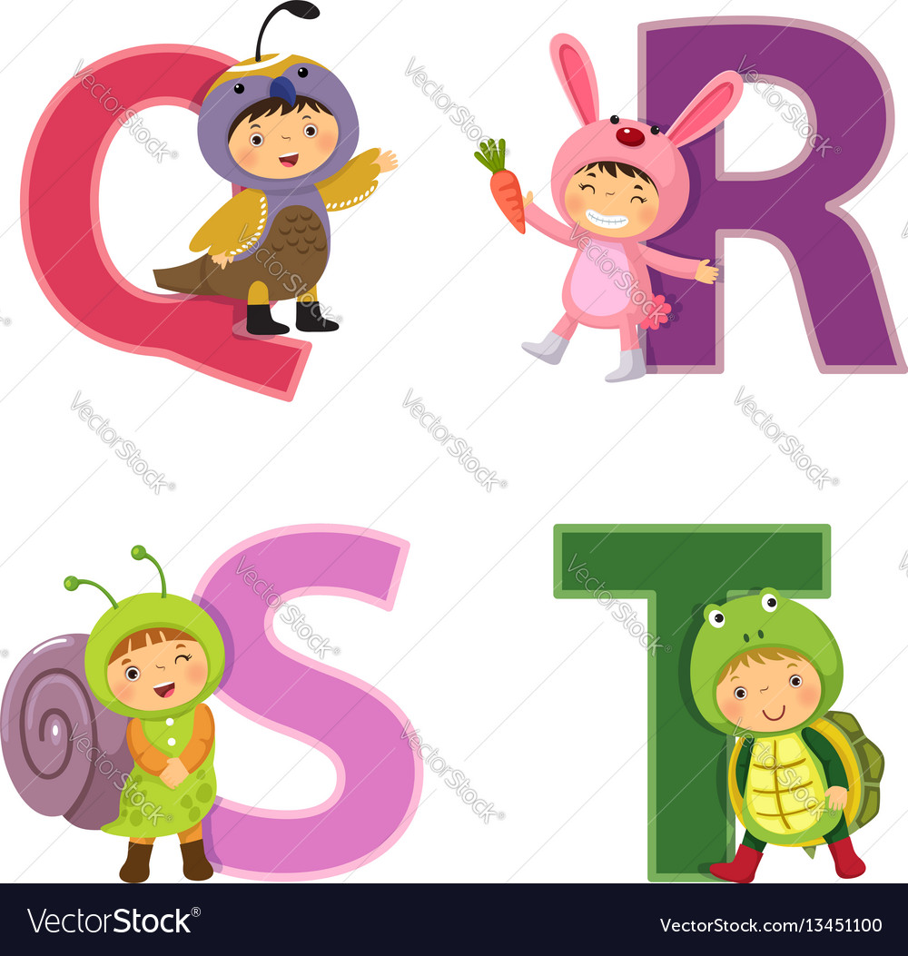English alphabet with kids in animal costume q-t