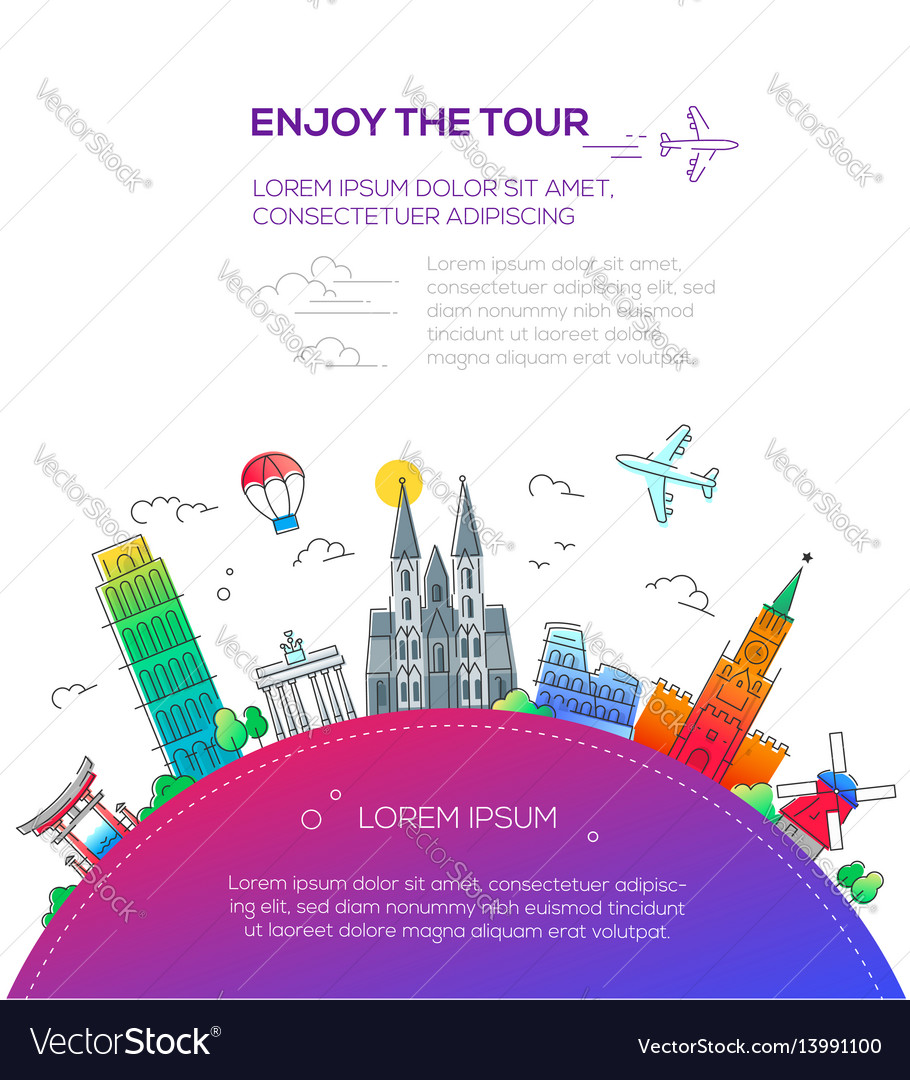 Enjoy the tour - flat design travel composition