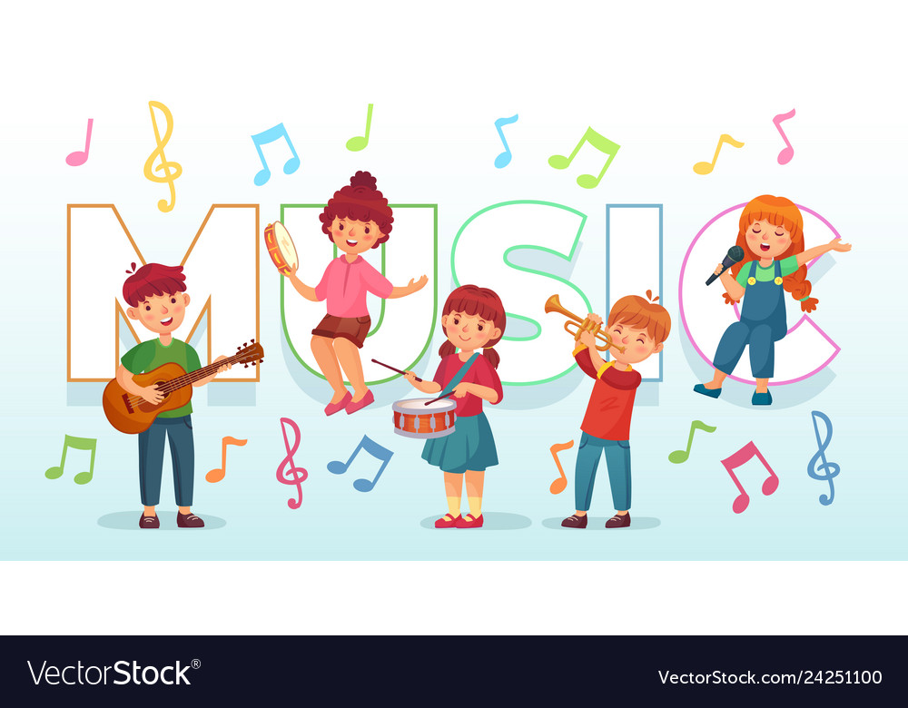 instruments musical playing children vector