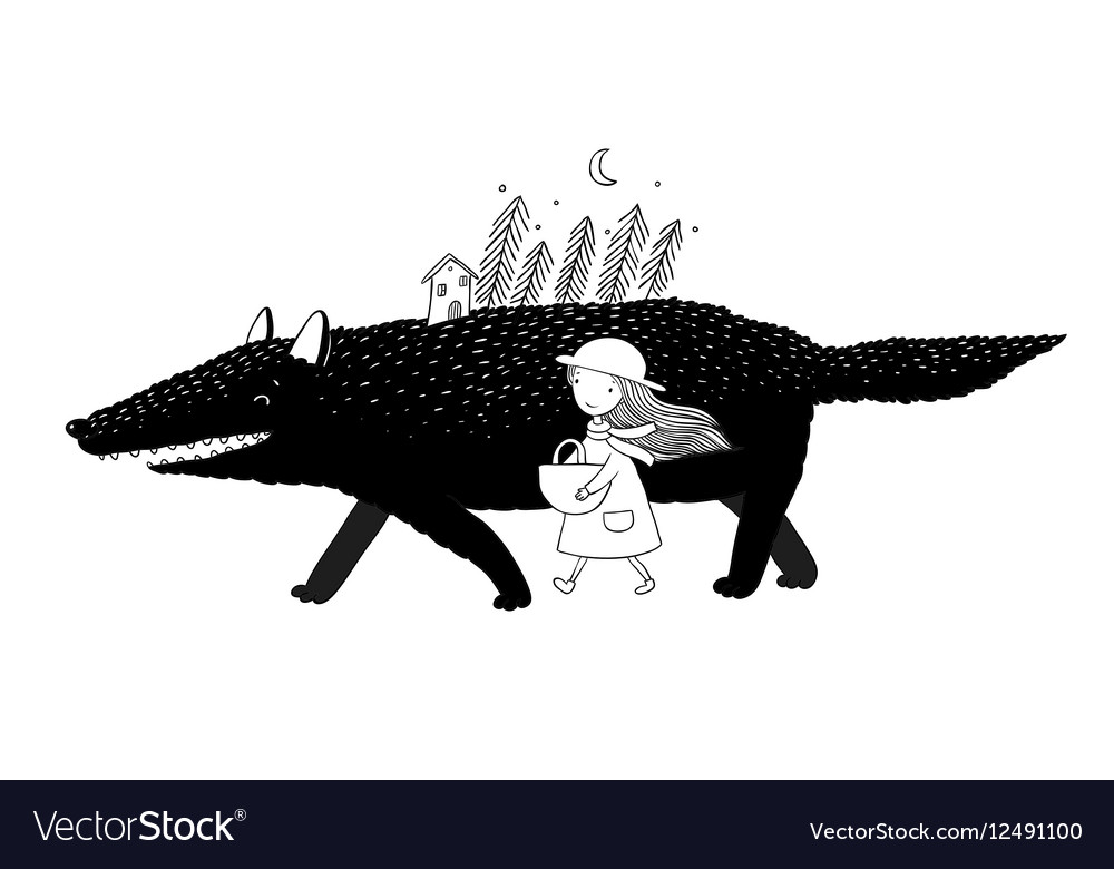 Little Red Riding Hood fairy tale vector image